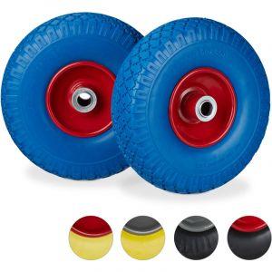 Relaxdays Roue de diable Set de 2 roue de brouette 20mm, roue complète axe, 3.00-4 essieu 150 kg, 260x85 mm, bleu-rouge