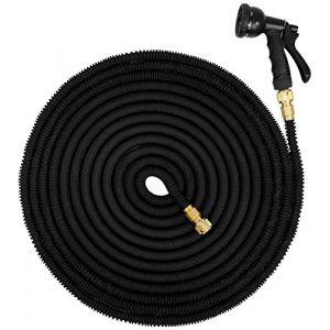 Eyepower Tuyau pour Arroser élastique Magic Hose Extensible 3 Fois sa Longueur de 10m à 30m + Pistolet d'Arrosage connecteurs en Laiton Noir