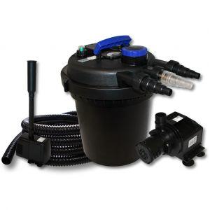 wiltec Kit de Filtration à Pression Bassin 6000l Stérilisateur UVC 11W Pompe 25m Tuyau Pompe Tuyau Fontaine