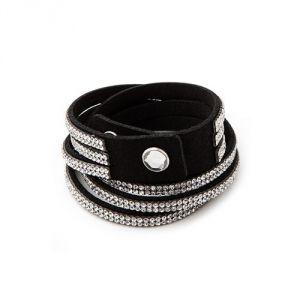 Blue Pearls Cry G136 F - Bracelet 3 rangs cristaux et cuir