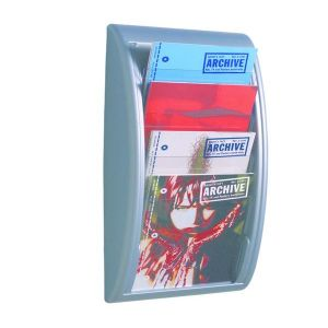 Paperflow Quick Fit présentoir mural 4 cases Aluminium