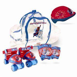 D'arpèje OSPI002 - Sac avec patins à roulettes, casque et 2 protections Spiderman