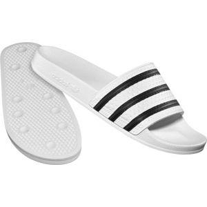 Adidas Adilette, Chaussures de Plage Et de Douche–Adulte Unisexe - - (Weiß - Schwarz), 43,5 EU EU