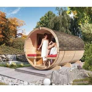 Karibu Sauna Tonneau 4 avec vestibule - 6 à 8 places bois massif 42mm