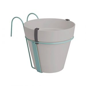 Image de Loft URBAN Pot de fleur balconnière - 27 x 19 x 19 cm -Gris chaud - Réservoir d'eau - Balustrades jusqu'à 6 cm de large - Charge maximale 5 kg - Recyclables - Résistant au gel