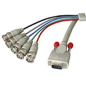 Lindy 31567 - Câble VGA HD-15 à 5BNC mâles 5 m.