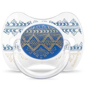 Suavinex Sucette anatomique réversible Couture Ethnic bleu foncé et doré en silicone (18 mois et +)