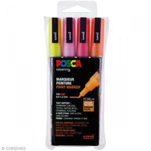 Posca PC3ML/4A ASS12 - Etui de 4 marqueurs peinture 3ML, pointe conique 0,9 à 1,3 mm, coloris chauds pailletés