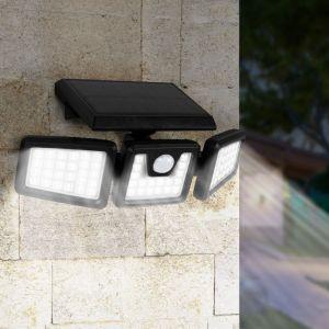 Idmarket Projecteur solaire 3 têtes 70 LED détecteur de mouvement