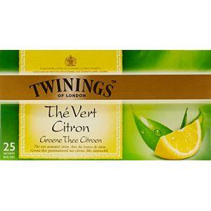 Twinings Thé vert au citron avec des morceaux de citron - Les 25 sachets, 50g