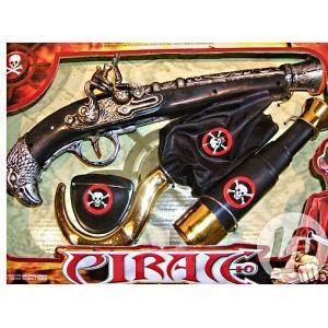 Set pirate : bandeau, crochet, longue vue et pistolet