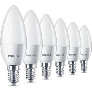 Philips La lampe LED remplace le blanc chaud (2700 Kelvin), 470 lumens, bougie, Plastique, blanc chaud, E14, 5.5W, 240V