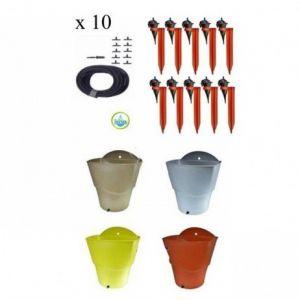 Iriso Kit 10 Goutteurs avec supports + 1 Réserve d'eau 12L, Couleur Vert