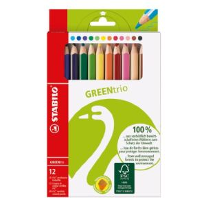 Stabilo 12 Crayons de couleur Green Trio assortis