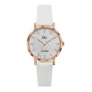 Go Girl Only Montre 699901 - Bracelet Cuir Blanc Boitier Acier Doré Rose Cadran Éclat Cristallin Femme