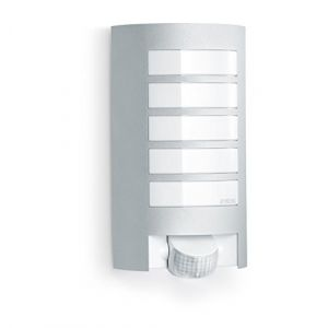 Steinel Luminaire extérieur L 12 argent, détecteur de mouvement 180°, portée de 10 m, E27, 60 W max, applique murale