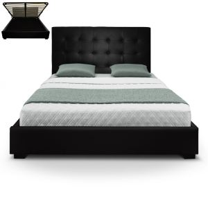 lit 160x200 noir avec tete de lit comparer 186 offres. Black Bedroom Furniture Sets. Home Design Ideas