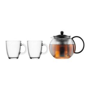 Bodum Assam K1805-01 - Théière à piston 1 L + 2 mugs en verre
