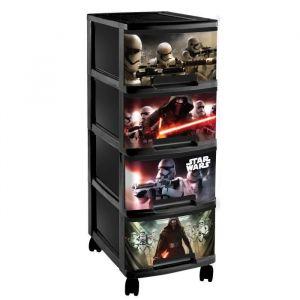 Curver Tour de rangement 4 tiroirs A4 avec roulettes Star Wars 10 L