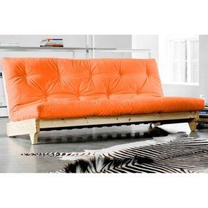 Inside75 Banquette lit futon orange FRESH 3 places convertible couchage 140*200cm