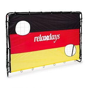 Relaxdays But de Football Cage de Foot avec cibles Jeu en Plein air Sport Drapeau Allemand H x l x P: 150 x 210 x 75 cm 2 Trous pour l'entraînement. Noir-Rouge-Or