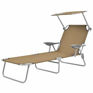 VidaXL Chaise longue pliable avec auvent Taupe