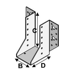 Alsafix Sabot de charpente à ailes extérieures (P x l x H x ép) 80 x 45 x 156 x 2,0 mm - AL-SE045156