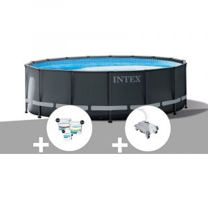 Intex Kit piscine tubulaire Ultra XTR Frame ronde 5,49 x 1,32 m + Kit de traitement au chlore + Robot nettoyeur