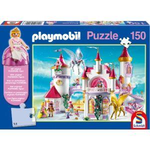 """Schmidt Puzzle Playmobil : """"Au château des princesses"""" avec statuette 150 pièces"""
