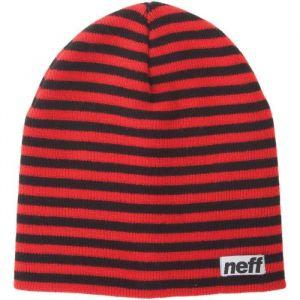 Neff Bonnet Q14F0300 Duo Stripe - Rouge/Noir - Homme - Bonnet rayé bicolore - 100 % acrylique