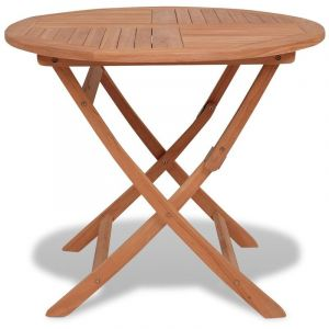 VidaXL Table de salle à manger d'extérieur ronde teck massif