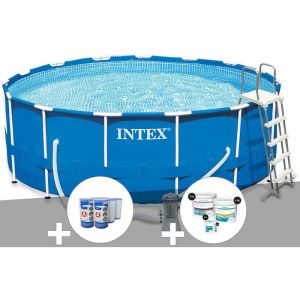 Intex Kit piscine tubulaire Metal Frame ronde 4,57 x 1,22 m + 6 cartouches de filtration + Kit de traitement au chlore