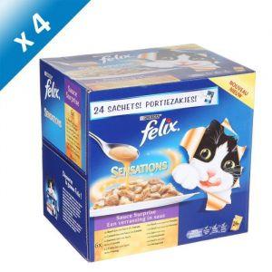Purina Felix Sensations - Sachets fraîcheur pour chat : viandes et poissons (24 x 4 x 100g)