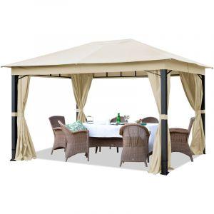 Intent24 TOOLPORT Pavillon de Jardin 3x4m ALU Premium env. 220 g/m² bâche imperméable pavillon 4 côtés Tente de Jardin Champagne
