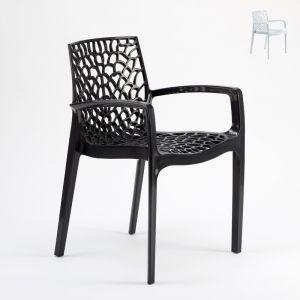 Grand Soleil Chaise en polypropylène accoudoirs jardin cafè GRUVYER ARM   Noir