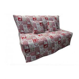 Inside75 Canapé BZ convertible FLO rouge motifs cerfs 140*200cm matelas confort BULTEX