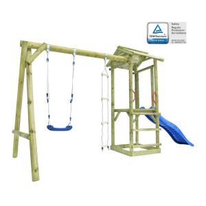VidaXL Ensemble aire de jeu avec échelle toboggan balançoire Bois FSC