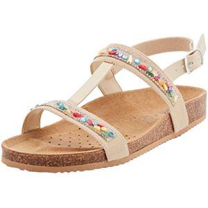 Geox New Sandal Aloha B, Salomés Fille, Beige, 33 EU