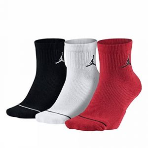 Nike U J Everyday Max ANKL 3PR Chaussettes Mixte Adulte, Black/White/Gym Red, FR : S