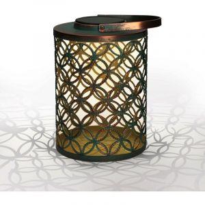 Idmarket Lanterne solaire à LED motifs rosaces à poser ou suspendre