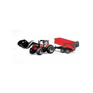 Bruder Toys Tracteur Massey Ferguson 7480 avec fourche et remorque basculante