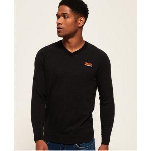 Superdry Pull en coton et à col en V Orange Label - Couleur Noir - Taille S