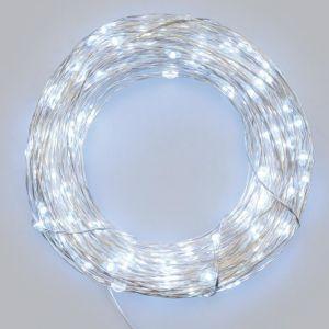Lotti Guirlande lumineuse 30 micro-LED - Lumière fixe et flashing sélectionnable - 3 m Guirlande 30 micro-LED blanc - Câble argent - 3 m - Lumière fixe et flashing - Timer - 3 piles AA 1.5V