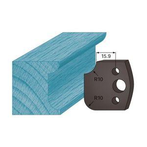 Diamwood Platinum Jeu de 2 contre-fers profilés Ht. 38 x 4 mm congé et quart de rond A175 pour porte-outils de toupie