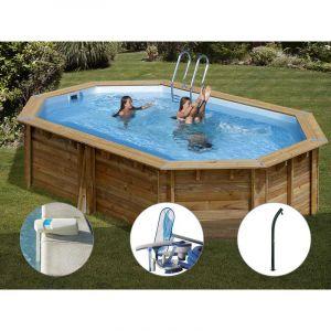 Sunbay Kit piscine bois Cannelle 5,51 x 3,51 x 1,19 m + Alarme + Kit d'entretien + Douche