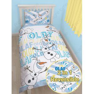 Character World La Reine des Neiges Olaf - Parure de lit réversible (135 x 200 cm)