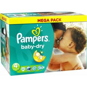Pampers Baby Dry taille 4 Maxi 7-18 kg - Mega Pack 86 couches