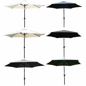 Bentley Garden - Parasol avec manivelle pour jardin - métal - Gris - CHARLES