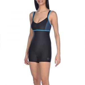 Arena W Venus Combi Maillot de Bain Femme, Black/Shark/Turquoise, FR : XL (Taille Fabricant : 44)