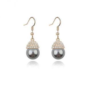 Blue Pearls Bps B303 W - Boucles d'oreilles pendantes perle et Cristal